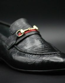 Handmade Men's Genuine Black Printed Leather Moccasin Formal Wear Shoes