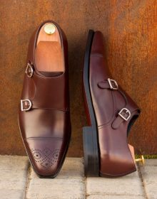New Handmade Double Monk Burgundy Polished Calf Leather Shoes