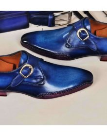 NEW HANDMADE MEN's MONKSTRAP HANDPOLISHED BLEACHED BLUE SIDE HANDSEWN TWISTED LEATHER SOLE LUXURY SHOE