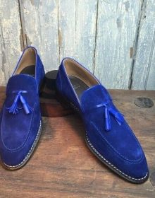 Royal Blue Color Tassel Loafer Slip On Vintage Suede Leather Party Wear Shoes