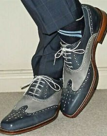 Handmade Men's Leather Wing Tip Grey Brogue Formal Dress Casual Shoes