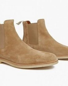 New Men's Handmade Men's Chelsea Dress Slip On Beige Suede Ankle High Boots