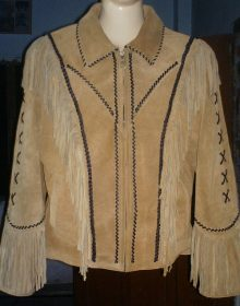 Women's New Native American Beige Buckskin Suede Leather Fringes Jacket