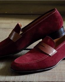 Handmade Maroon Color Suede Penny Loafers, Men's Fashion Dress Moccasin Shoes