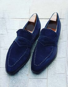 Handmade Blue Color Suede Penny Loafers,Party Dress Men's Fashion Moccasin Shoes