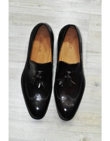 NEW HANDMADE MENS ITALIAN LEATHER TASSEL BLACK LUXURY LOAFERS SHOE