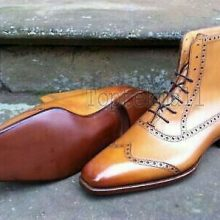 Handmade Men's Leather Wingtip Brogue High Ankle Stylish Boots