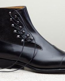 Men's Handmade black lace up ankle boots, Men fashion cap toe ankle leather boot