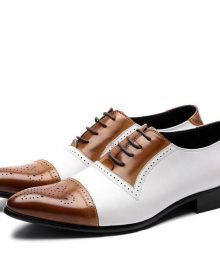 NEW HANDMADE MEN ITALIAN CALFSKIN LEATHER BROWN/WHITE SLIP ON DRESS SHOES
