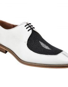 New Handmade Men White / Black Genuine Stingray / Italian Calf Split Moc-Toe Shoes