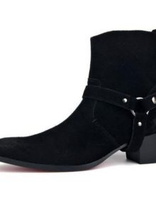 Men's Handmade black Suede leather biker boots, Men black ankle high heel boots