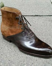 Handmade Men's Leather TWO TONE TAN & BROWN ANKLE HIGH Stylish BOOTS