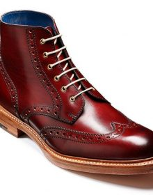 Handmade High Ankle Burnished Toe Wing Tip Maroon Leather Natural Color Sole Boot