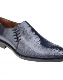 New Handmade Men Antique Navy Genuine Ostrich / Italian Calf Slip On Shoes