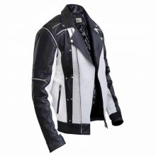 Handmade Men's Cow-Hide Leather Black and White Detachable Sleeves Jacket