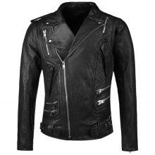 Handmade Men's Black Biker Zipper Genuine Leather Jacket