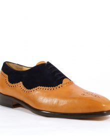 New Handmade Men Franco Italian Camel / Blue Leather and Suede Oxfords Shoes