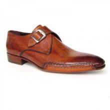 New Handmade Men Side Sewn Monk Strap Tobacco Shoes