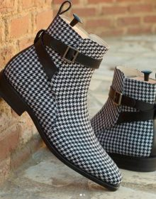 Handmade Men Beautiful Wool and Leather Houndstooth Jodhpur Goodyear Welt Boot
