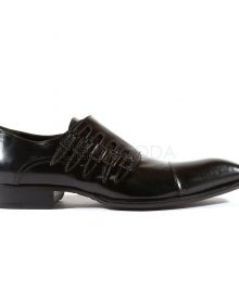 New Handmade Mens 5-Buckle Black Leather Loafers Shoes
