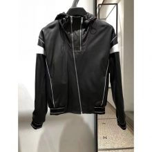 Men Black Hooded Leather Jacket, Leather Jackets, Hooded Jacket For