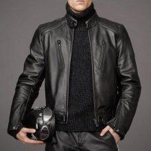 Leather Skin Men Black Authentic Cow Skin Biker Motorcycle Leather Jacket