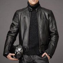 Leather Skin Men Black Authentic Cow Skin Biker Motorcycle Leather Jacket