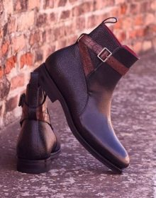 Handmade Black pebble grain calf and brown croco printed calf straps Goodyear Welt Jodhpur Boot
