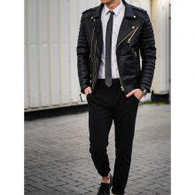 New Men Fashion Trend Black Motorcycle Leather Jacket, Biker Fashions