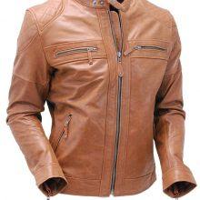 Handmade Men Brown Cowhide Leather Cafe' Racer Motorcycle Jacket , Biker