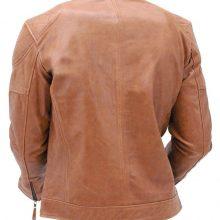 Handmade Men Brown Cowhide Leather Cafe' Racer Motorcycle Jacket , Biker Leather Jacket For Mens