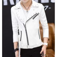 Handmade Mens Fashion White Biker Jacket, Mens White Studded Belted Jacket