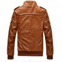 Handmade Men's Sheepskin Leather Jacket, Men's Brown Color Biker Leather Jacket