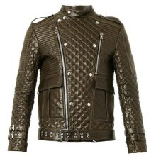 Handmade Mens brown quilted leather biker jacket, Slim fit Jacket For Mens
