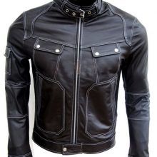Handmade Men Brown Biker Leather Jacket