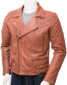 Handmade Men's Cognac Leather Biker Jacket , Men Fashion Biker Jacket