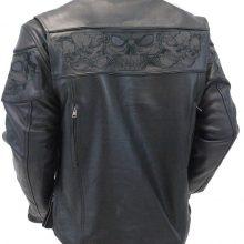 Handmade Men Naked Leather Reflective Skull Jacket, Biker Leather Jacket For Mens