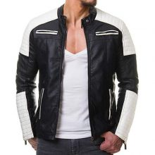 Handmade Mens Black and White Slim Fit Biker Jacket, Men Leather Jacket