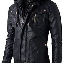 Biker Leather Jacket with Detachable Hoodie Distressed Black