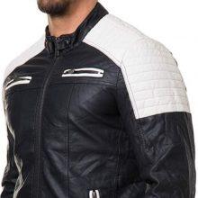 Handmade Mens Black and White Slim Fit Biker Jacket, Men Leather Jacket