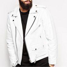 Men White Leather Jacket, Mens Leather Jacket, Slim Fit Biker Lambskin White Leather Jacket
