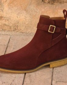 Handmade Burgundy Calf Suede Jodhpur Boot in crepe sole