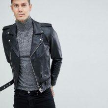 Handmade Mens Black Slim Fit Biker Jacket, Men Leather Jacket