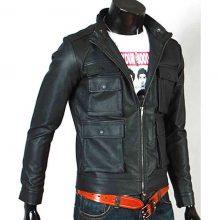 Handmade Mens Slim Fit Biker Jacket, Men Leather Jacket