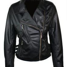 Ladies Black Biker Style Retro 100% Real Leather Jacket