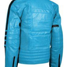 Men Blue Motor Biker Perforated Black Linings Genuine Leather