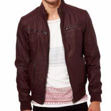 Men maroon-color ban collar bomber biker leather