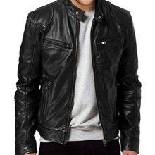 Men's Black Genuine Real Lambskin Leather Bomber Biker Motorcycle Jacket