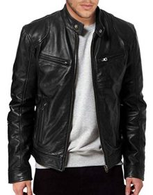 Men's Black Genuine Real Lambskin Leather Bomber Biker Motorcycle Jacket