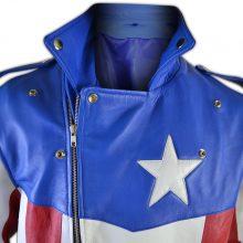 Handmade United States of America USA Flag Biker Leather Jacket